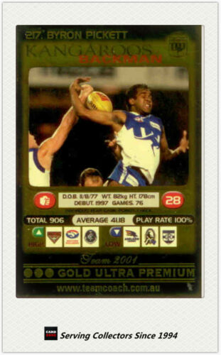 2001 AFL mcoach Gold Parallel Card 217 Byron Pickett Kangaroos
