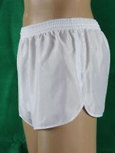 Franzoesische-Sprinter-Sporthose-Glanzshorts-Shorts-Vintage-weiss-Gr-M-D5-Neu