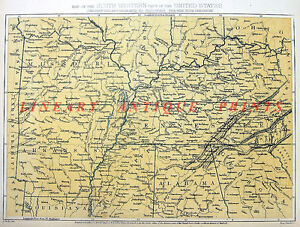 Details about Old Antique 1864 Color Topographical Map Engraving of  SOUTHWESTERN UNITED STATES