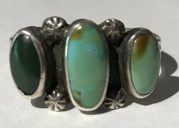 100% Wahr Vintage Navajo Indisch Silber Hell & Cerrillos TÜrkisgrÜn Ring GrÖsse 58,9 Direktverkaufspreis