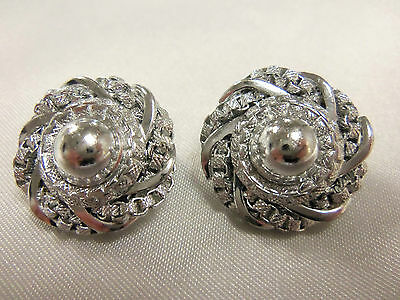 (W GERMANY) AWESOME Vintage TWISTED Silvertone Chain Design CLIP Earrings F14E21