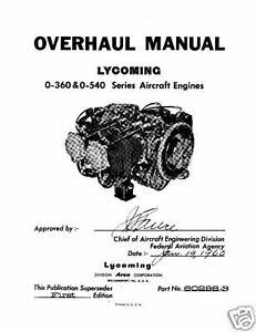 Details about Lycoming Aircraft Engine Overhaul Manual 60298-3