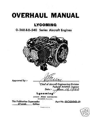 Lycoming O 360 O 540 Aircraft 60298 3 Engine Overhaul Manual EBay