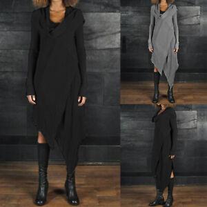 ZANZEA-Women-Cowl-Neck-Asymmetrical-Long-Shirt-Dress-Split-Midi-Dress-Plus-Size