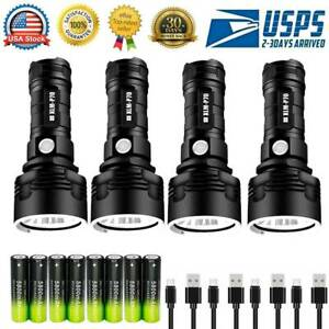 2/4Set 990000LM 3 Modes Super-bright Flashlight P70 LED Tactical Torch + battery