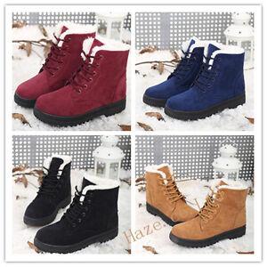 De-las-mujeres-Invierno-Calentar-Casual-Con-cordones-Tobillo-Botas-Nieve-Botas
