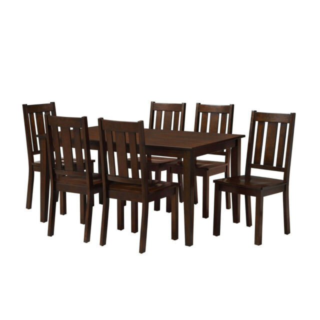 Sets For 6 Dining Room Table Chairs 7 Piece Set Brown Wood Kitchen Furniture For Sale Online Ebay