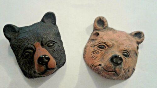 Peruvian Ceramic Black Brown Bear Face Single Bead OR Lot of Five OR Ten Animal