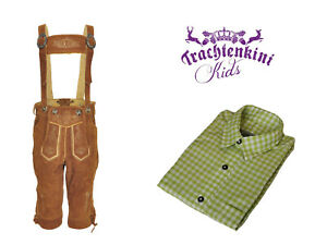 TRACHTENKOMBI-Kinder-Kniebund-Lederhose-und-Trachtenhemd-zum-Sonderpreis