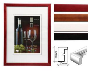 Bilderrahmen-Holz-Rahmen-24-in-13x18-bis-50x70-Weiss-Braun-Rot-Schwarz-Foto