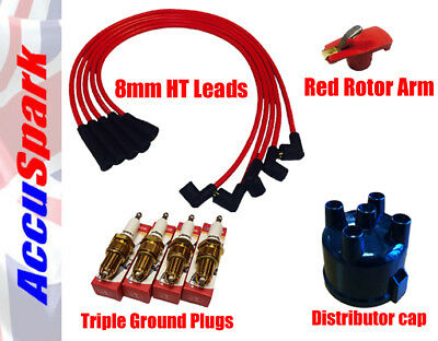 Classic 25D4 Side Entry 8mm RED Ignition HT Leads Red Rotor Arm /& Cap Kit