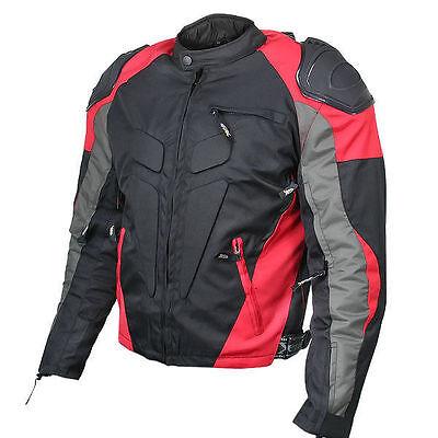 Xelement Mens Red Black Waterproof Armored Textile Sport Motorcycle Jacket
