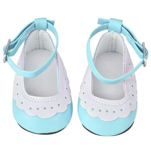 Artificial Leather Flat Shoes with Lace Trim for 18 inch Dolls Baby Xmas Gifts