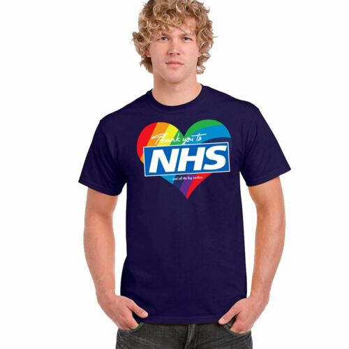 Mens Rainbow Heart NHS Printed T Shirt Short Sleeve Top Cotton Tee Casual 8094