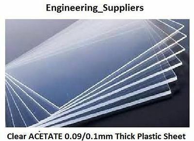Thin Clear Acetate Plastic Sheet 0.09/0.1mm A6 A5 & A4 Single, 5 or 10 Pack