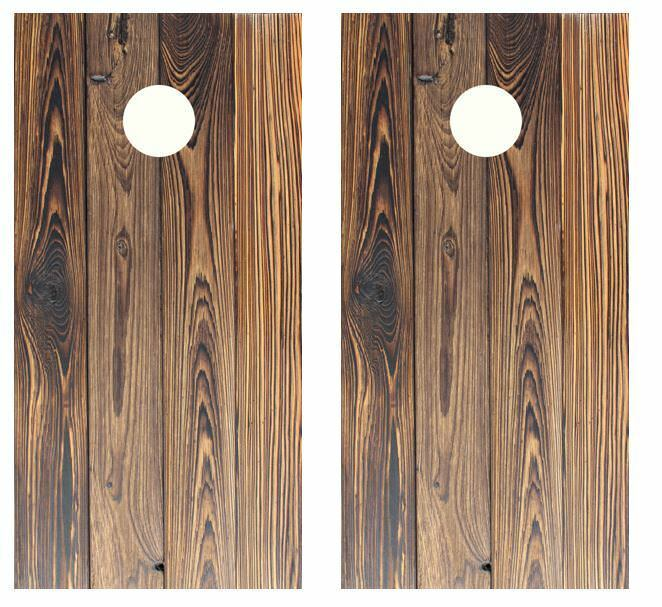 Dark Multi colord Plank Wood Cornhole Board Wraps FREE SQUEEGEE