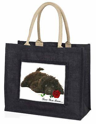 Pudel + Rose' Liebe, die sie Mama' große schwarze Einkaufstasche WEIHNACHTEN PR,