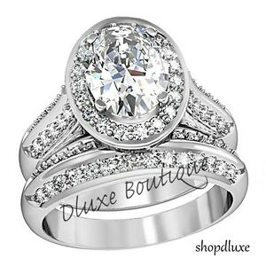 Women-039-s-Stainless-Steel-Halo-Oval-Cut-AAA-CZ-Wedding-Ring-Set-Size-5-6-7-8-9-10