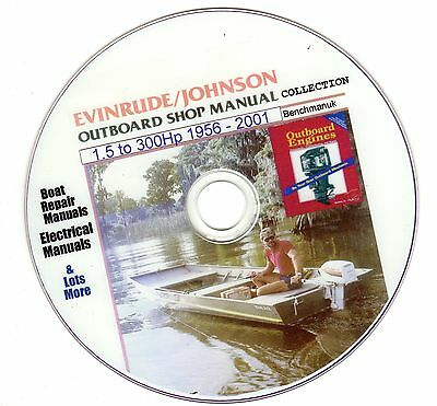 Johnson / Evinrude Service Manual Huge Collection on DVD  1.5 300Hp 1956 - 2001