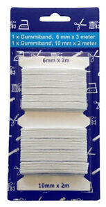 5m-2er-Set-3mx6mm-2mx10mm-Standard-Elastik-Gummilitze-Gummiband-Hosengummi-weiss