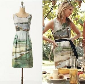 8abf4d57faf15 Image is loading Rare-Anthropologie-Odille-Artist-Rendering-Dress-Sz-0-