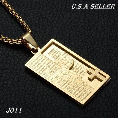 f0af1ff008c83 Men Women Spanish Bible Jesus Stainless Steel Gold Dog Tags Pendant  Necklace | eBay