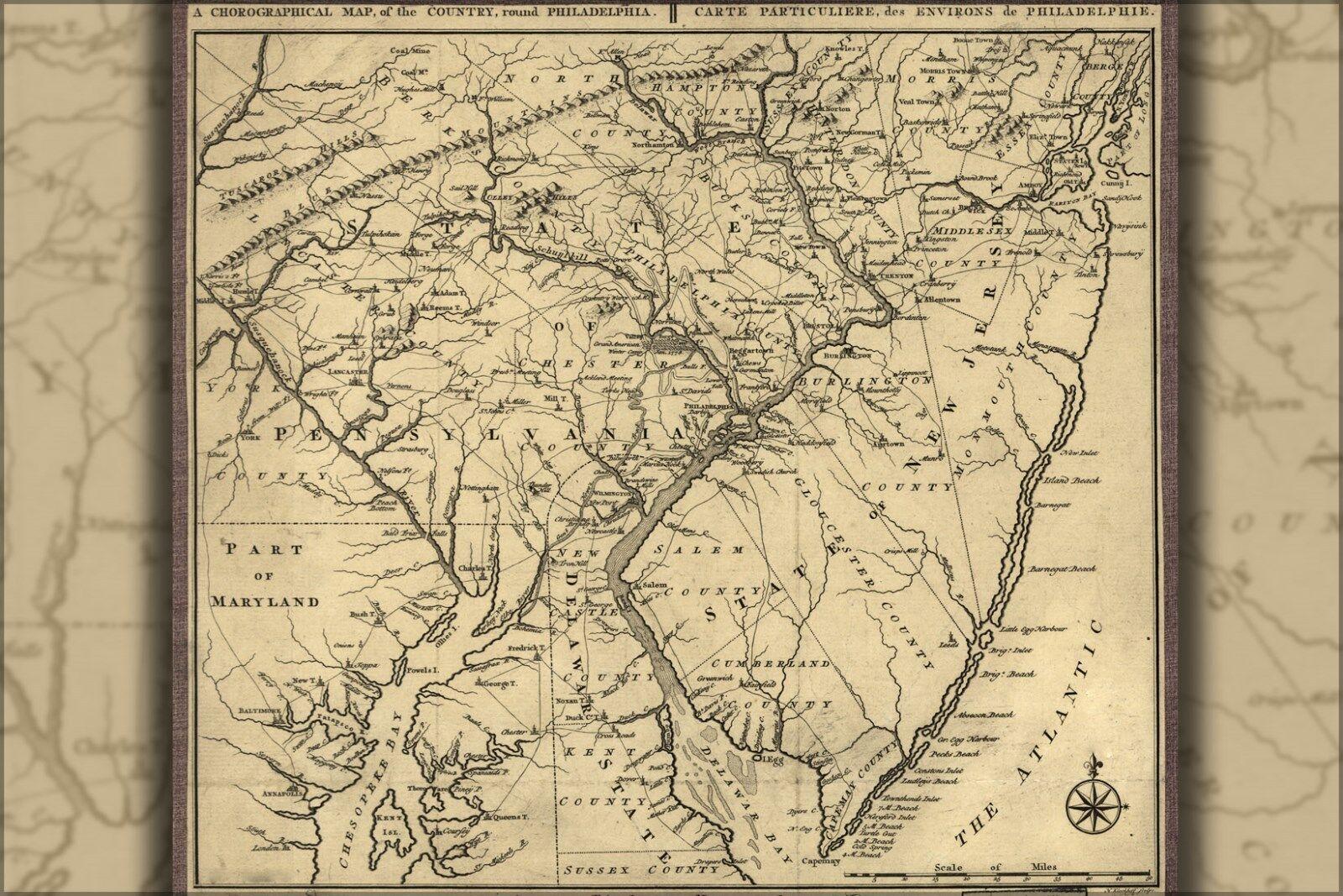 Plakat, Viele Größen; KKunste von Philadelphia Bereich Neu Jersey 1789