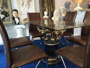glastisch esstisch medusa m ander barock landhaus s ule wohntisch 6031 1 k110 50 ebay. Black Bedroom Furniture Sets. Home Design Ideas