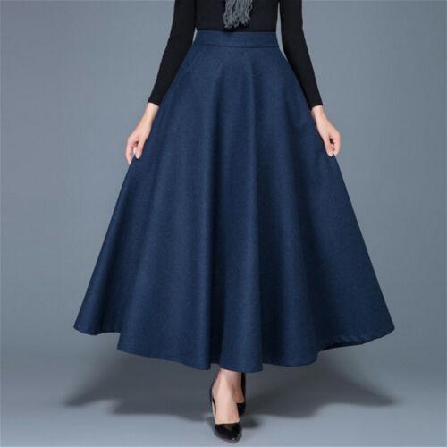 Femmes Faux Laine Jupe Solide A-ligne vintage chaud demi robe avec Poche NEUF
