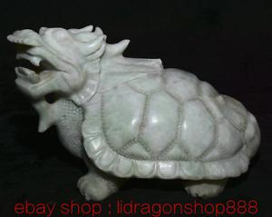 """9,6 """"Dushan Jade Sculpture Feng Shui Dragon Tortue Tortue Statue De Richesse"""
