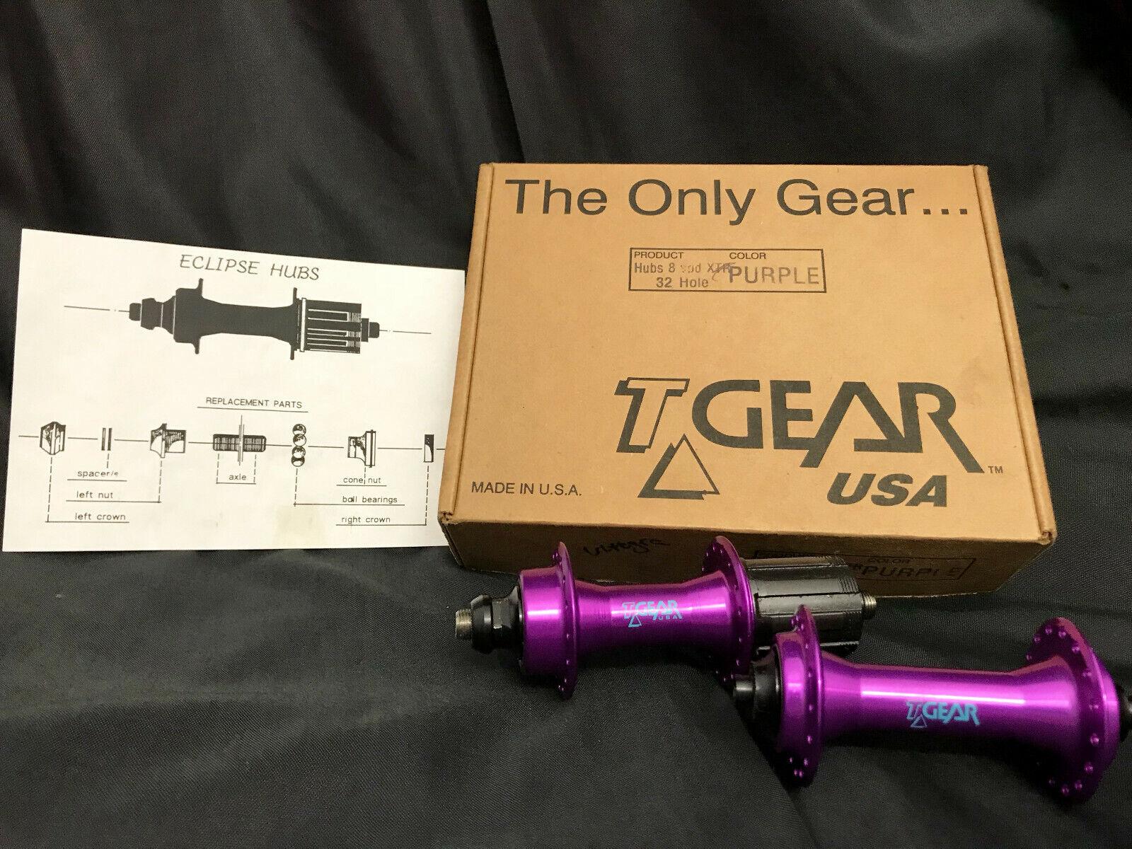 Ultra rare nos tgear Cult T-Gear vintage azuls 8 sp concentradores set púrpura 32h -130