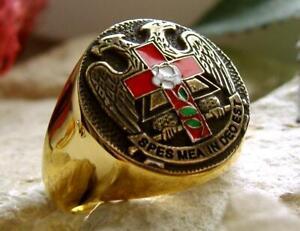 Details zu KREUZ ROSE FREIMAURER ADLER MASONIC SIEGELRING RING CHEVALIERE GOLD SILBER PIN