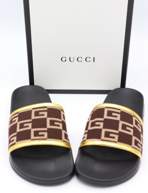 e34125a1a Gucci Pursuit GG Knit Brown Gold Slide Sandals 10 for sale online