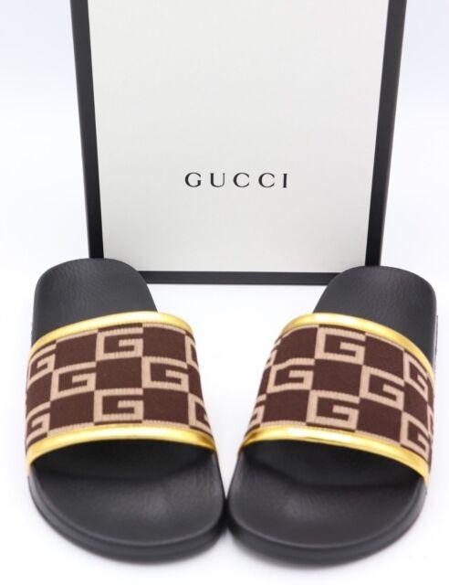 8b3b347d51c Gucci Pursuit GG Knit Brown Gold Slide Sandals 10 for sale online