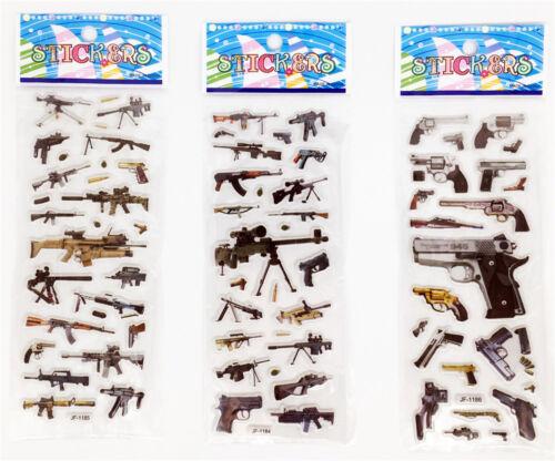 3 FOGLI 3D Abbellimenti PVC PISTOLA ADESIVI LOTTO Kids Favore Regalo Festa x/'mas