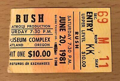 1981 Rush Portland Erz Moving Pictures Tour Konzert Ticket Stumpf Geddy Lee