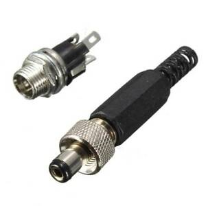 5-5mm-Screw-Locking-DC-Power-Connector-Male-Plug-amp-Metal-Panel-Mount-Practical