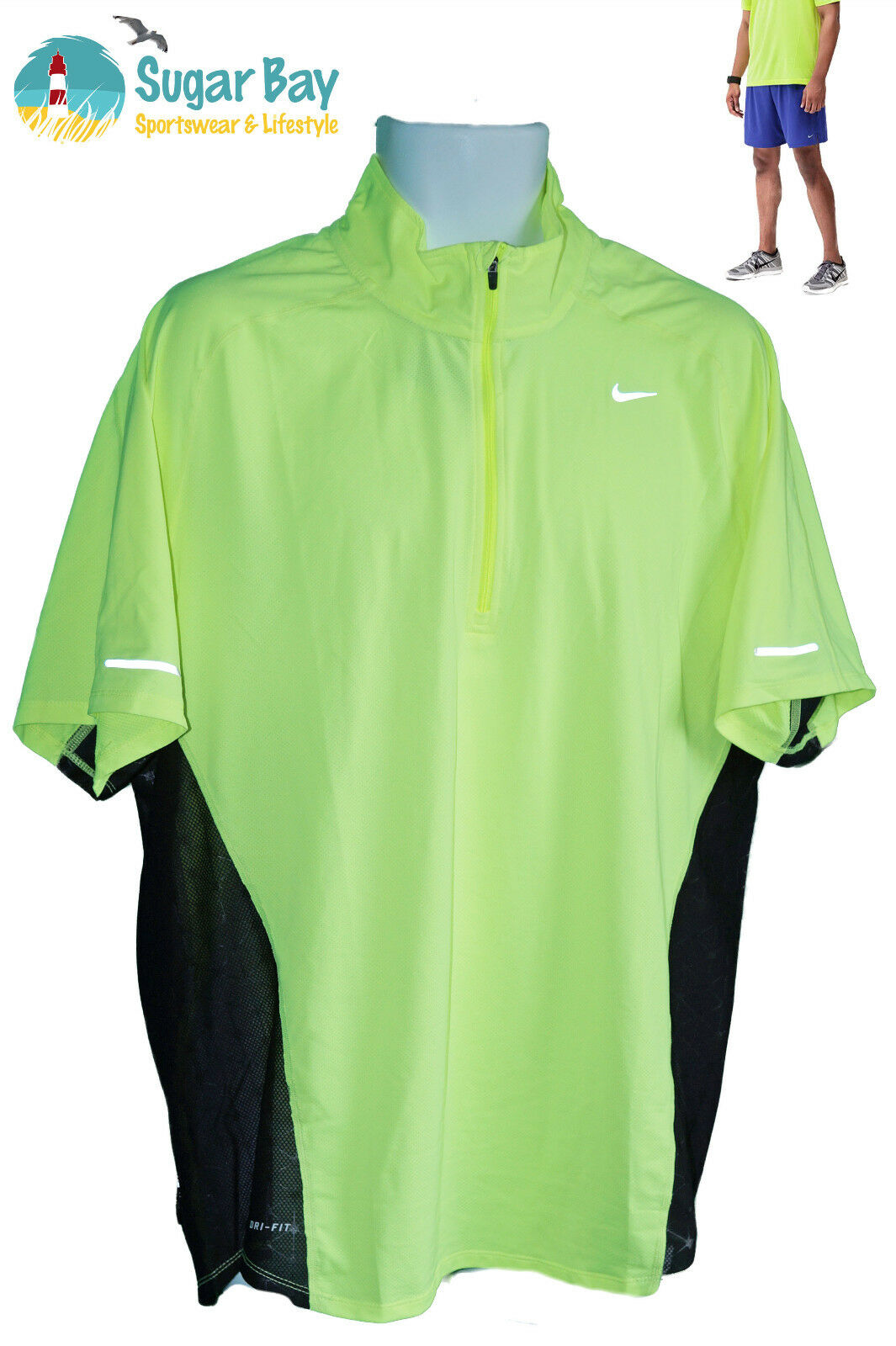 NIKE RUNNING HERREN DRI-FIT STAY COOL belüftet Signalfarbe Reflektion Oberteil