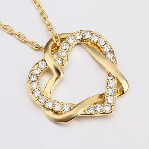 New 18K Gold Filled Women/'s Love Heart Pendant Necklace With Swarovski Crystal
