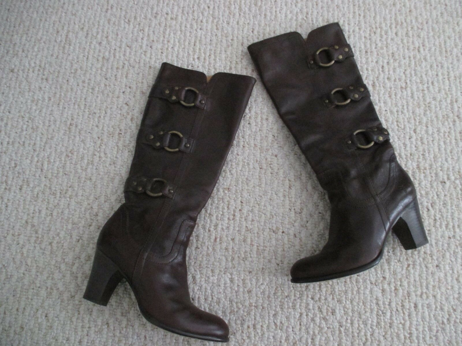 FRYE Fiona 3 Strap Brown Leather Boots Size 6