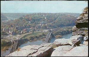 HARPERS FERRY WV Maryland Heights Vintage Bridge View Old West VA Postcard