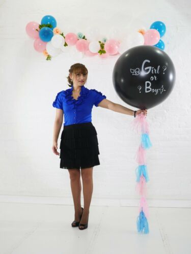 Gender Reveal Black Balloon Boy or Girl Blue Pink confetti Tail Tassel Baby