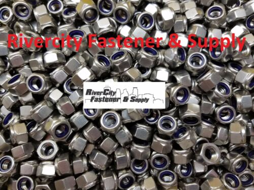 20 M8-1.25 Nylon Insert Lock Stop Nuts DIN 982 8mm tall nuts Stainless Steel