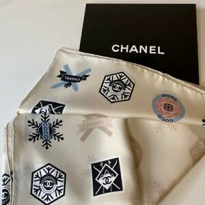 NEW-AUTHENTIC-CHANEL-DIFFERENT-LOGO-GEOMETRIC-PRINT-MULTI-COLOR-100-SILK-SCARF