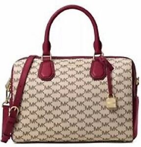 New MICHAEL KORS MD Mercer studio collection Mk DUFFLE Cherry BAG ... 81579f7fef4f0