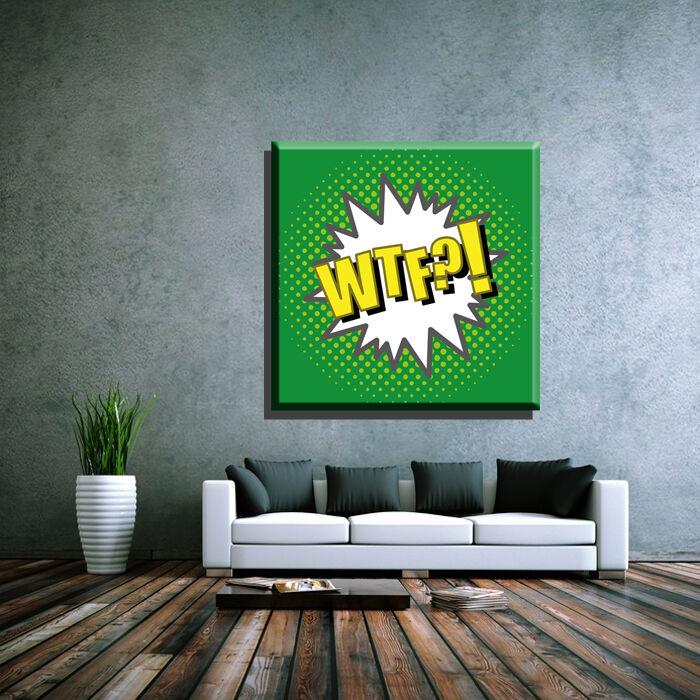 LEINWAND BILD ER XXL POP Kunst WTF COMIC MANGA KunstWORK GRAFFITI ABSTRAKT - 130x130