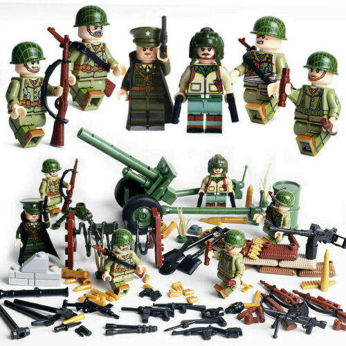 WW2 US Armee Minifiguren Geschütz Soldaten Kanone Gewehr Kugel Modell Fit LEGO*