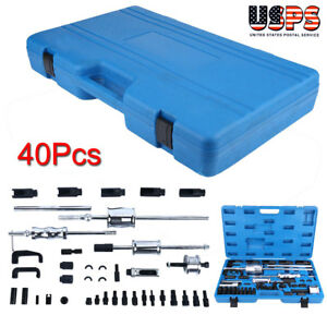 3Pcs Diesel Injector Kit Injector Extractor Diesel Puller Set Common Rail Adaptor Injection Tool Kit Stored in a Blue Storage Case
