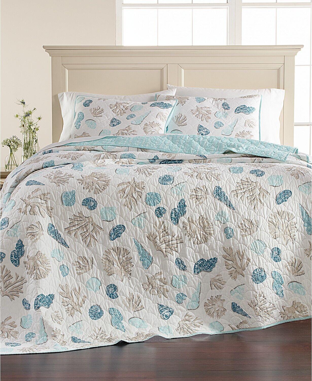 Martha Stewart Beach Finds Reversible 100% Cotton King Quilt Light blueeee i432
