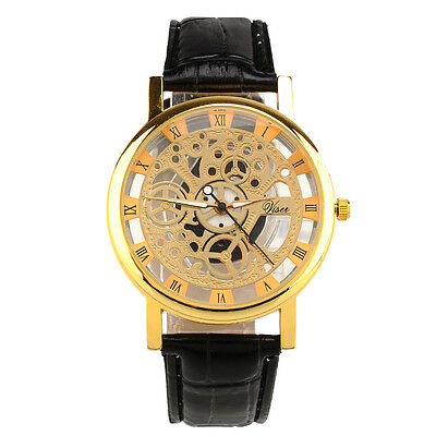 Skeleton Dial Mens Women Leather Band Quartz Stainless Steel Gold Wrist Watch